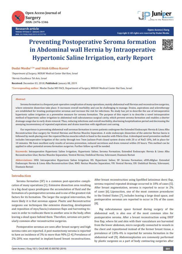 Preventing Postoperative Seroma formation in Abdominal wall